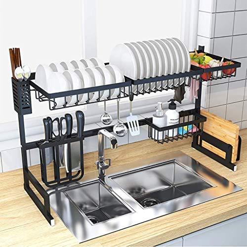 Trockner auf Geschirrspülbecken, schwarz Edelstahl mit Abtropffläche Rack, Arbeitsplatte Geschirrspüler Veranstalter Raum mit Werkzeughalter Spar