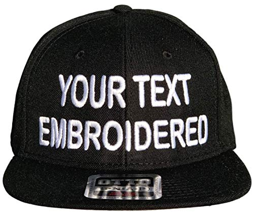 Custom Snapback Hat Otto Embroidered Your Own Text Flatbill Bill Snapback (Black)