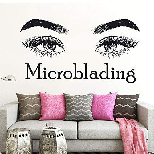 MRQXDP Kostenloser Versand Wimpern Wimpern Make-up Zitat Microblading Wandtattoo Aufkleber Schönheitssalon Wanddekor Kosmetik Wimperntusche Vinyl Aufkleber Brauen 57x106cm Muursticker