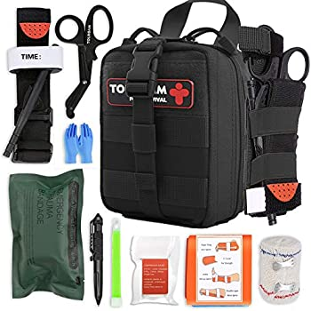 IFAK Trauma First Aid Kit Micro Rip Away Molle Med Pouch Fully Stocked Small Tactical Medical Bag with Tourniquet for Military Camping Hiking