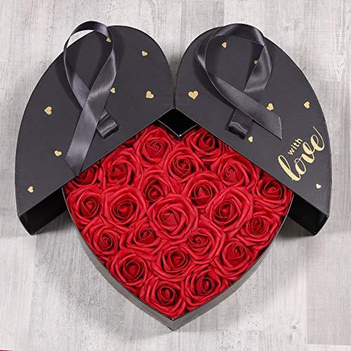 Romeo&Love Deluxe Big Rot Rosen Rosenbox 32cm Flowerbox Blumenbox Bordeauxrot Blumen Ewige Infinity Rosen Box künstliche Deko Wunsch Gravur Hochzeit