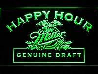 Miller Genuine Draft Happy Hour LED看板 ネオンサイン ライト 電飾 広告用標識 W40cm x H30cm グリーン