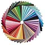 CraftsDIY 50 Stück Stoffbündel einfarbig Baumwollstoff