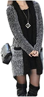 Women Stitching Pocketed Mid-Length Solid Color Baggy Cardigan Sweater