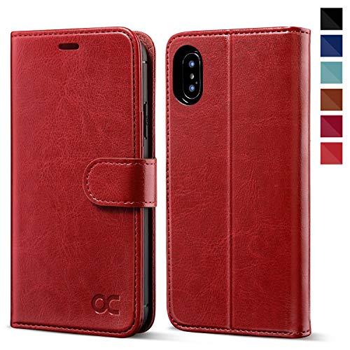 OCASE iPhone XS Hülle iPhone X Hülle iPhone 10 Hülle Handyhülle [Premium Leder] [Standfunktion] [Kartenfach] Schlanke Leder Brieftasche Handyhülle für iPhone X/XS (5,8 Zoll) (Rot)