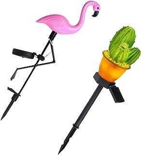 KESYOO 2pcs LED Solar Ground Stick Lights Flamingo Cactus Outdoor Decorative LED Lamps Outdoor Stake Landscape Light for C...