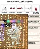 sfesnid 5 in 1 3D Lichtervorhang LED Lichterkette 1.5 Meter 5 Lichter LED USB Fenstervorhang Lichter 8 Modi Dekoration für Weihnachten Deko Party Festen Warmweiß - 3