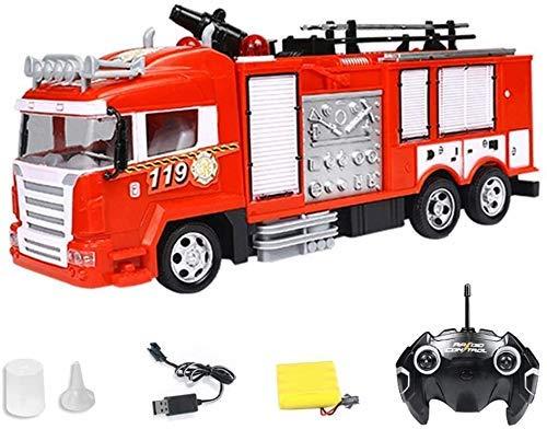 ZCYXQR Control Remoto Fire RC Car Toy Engine Camión de Bomberos eléctrico con Sonido y luz Trunk Race (Regalo de cumpleaños Festivo)