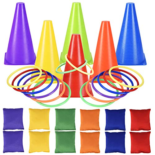 Carnival Toss Games Combo Set, 30PCS Bean Bag Ring Toss Games, Outdoor Plastic Cones Ring toss for Kids/Children Party by Alyoen