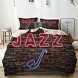 Juego de funda nórdica beige, Alluring Neon All Jazz Sign con instrumento de saxofón en la pared de ladrillo, juego de cama decorativo de 3 piezas con 2 fundas de almohada Fácil cuidado antialérgico s