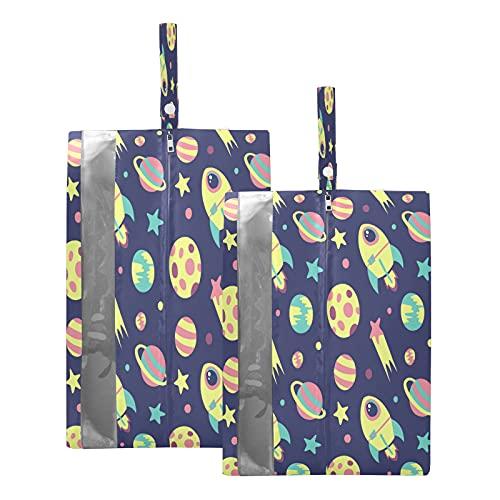 Hunihuni Reise-Schuhtasche, niedliches Cartoon-Weltraum-Muster, wasserdicht, tragbar, mit Reißverschluss, 2 Stück