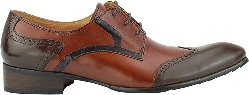 Xposed pour pour pour Homme Deux Tons Marron Clair Cuir véritable Poli Derby Enchaînera Brogue Gatsby Chaussures 7ca