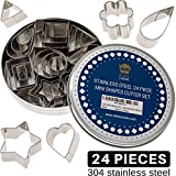 Mini Cookie Cutter Shapes Set - 24 Small Molds to Cut Out Pastry Dough, Pie Crust & Fruit - Tiny...