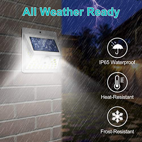 Solar Motion Sensor Light Outdoor, [6 Pack/3 Modes/40 LED] LANSOW Solar Powered Security Lights Wireless IP 65 Waterproof Lights for Wall Deck Yard Garage Porch Garden Patio Fence(6pk-White)