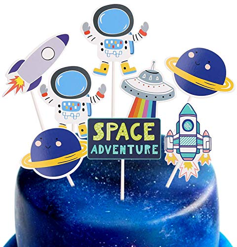 CCINEE 24 Pieces Astronaut Cupcake Toppers Space Party Decoration Cupcake Toppers Rocket Themed Spaceship Outer Space Dog Cupcake Toppers Party Aliens Cake Decorative Favor Supplies