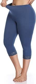 Kotii Women's Plus Size Lace Trim Capri Leggings Stretch Cropped Leggings Summer Tights Pants