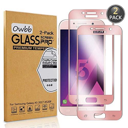 Owbb [2 Stück] Rose Gold Gehärtetes Glas Bildschirmschutzfolie Für Samsung Galaxy A5 2017 A520F Smartphone Full Coverage Schutz High Transparent Explosionsgeschützter Film