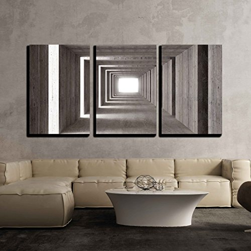 wall26 - 3 Piece Canvas Wall Art - fine Image 3D of Concrete Tunnel and lateral Lights, Abstract Background - Modern Home Art Stretched and Framed Ready to Hang - 16'x24'x3 Panels