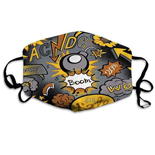 Na Staubschutz, Mundschutz Waschbare und wiederverwendbare Comic-Explosionsmuster Kunst acdc Fantasy Mundschutz