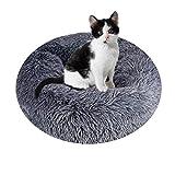 Queta Cama para mascotas de lujo, para gatos y perros pequeños y medianos, fácil de limpiar, cama para mascotas en forma de Doughnut, 50 cm (gris oscuro)