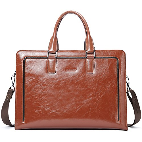 BOSTANTEN Mens/Women Leather Laptop Briefcases 15.6 Inch Business Shoulder Bag Vintage Office Work Handbags Brown