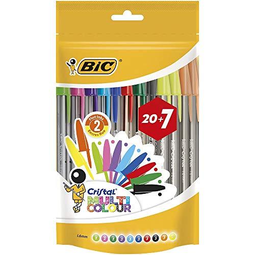 BIC Cristal Multicolour Bolígrafos Punta Ancha (1,6 mm) – Colores Surtidos, Bolsa de 20+7 Unidades, ideal para dibujos y anotaciones