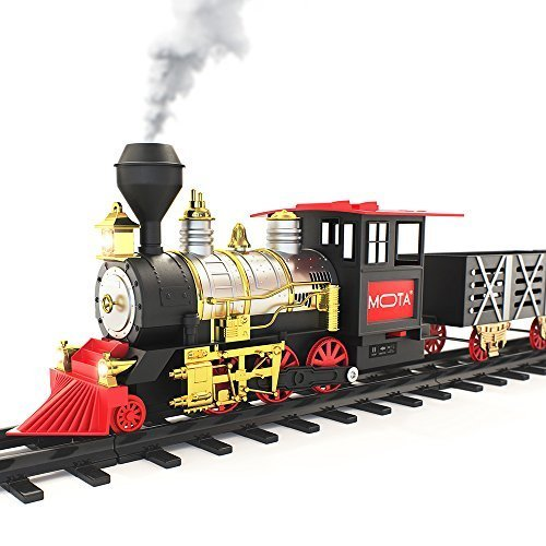 MOTA Classic Toy Train with Real Smoke - Signature Lights and Sounds - Full Set with Locomotive Engine and Cars, Tracks Minnesota