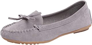 Sturrly Womens Lace up Loafers Flats Slip-On Casual Flock Boat Shoe with Bow