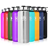 Stainless Steel Vacuum Insulated Water Bottle, 24Hrs Cold,12Hrs Hot, 21OZ-50OZ Double Wall Thermos Flask, Travel Sports Leak Proof Drinking Bottle with Metal Strainer, BPA Free (Stainless Steel, 21oz)