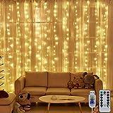 Nigaee LEDイルミネーションライト カーテンライト ストリングライト300球 3m*3m 暖色 リモコン付き 8種類照明モード 点滅 点灯 輝度調節可能 USB式防水 防塵仕様 多機能 雰囲気作り 屋外 室内 ガーデンライト 正月 クリスマス 飾り 誕生日 パーティー