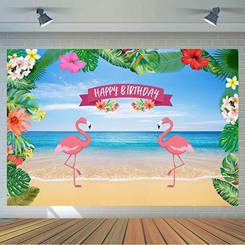 KSZUT Let's Flamingo Backdrop Aloha Flamingo Birthday Photography Background 7x5ft Vinyl Summer Baby Shower Party Photography Backdrops