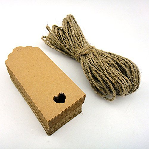 Xiton100pcs 9.5cm*4.5cm Kraft Paper Tag Blank for Wedding Favour Cards,Gift Tag,DIY Tag,Luggage Tag,Price Label,Store Hang Tag (100) with Heart (Brown)