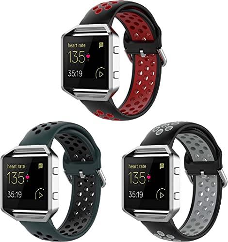 Gransho Correa de Reloj Compatible con Fitbit Blaze, Silicona Banda de Reemplazo Pulsera (3-Pack H)