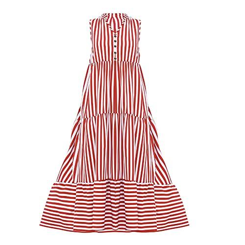 Verano Nuevo Vestido De Costura con Botones A Rayas con Cuello En V para Mujer