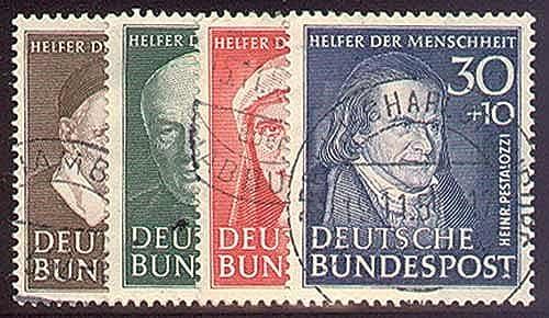 Goldhahn Briefmarken BRD Nr. 143-146 gestempelt Wohlfahrt 1951 Briefmarken für Sammler