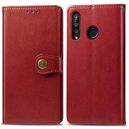 Oihxse Compatibile per Xiaomi Mi A3 Lite Cover,Pelle Portafoglio Flip Funzione Stand Cover Xiaomi Mi A3 Lite Silicone a Libro Antiurto Portafoglio con Slot per Schede Chiusura Magnetica (rosso)
