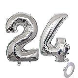 Globo de helio con número 24, plateado, número 24, para cumpleaños, decoración de fiesta de cumpleaños, XL, 32 pulgadas, para cumpleaños