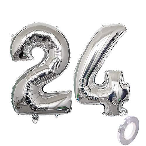 Party Folienballon Zahl 24 Silber Helium Luftballon Nummer 24 Geburtstag Nummer 24 Geburtstag Party Dekoration Luftballon Geburtstag XXL Folienballon 40