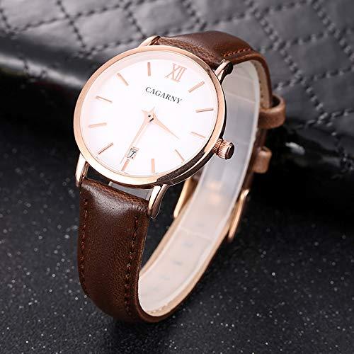 Reloj de Cuarzo para Hombres, Reloj de Negocios de Cuero Minimalista, Reloj de Cuarzo de Moda y Banda de Cuero clásico (Color : Color3)