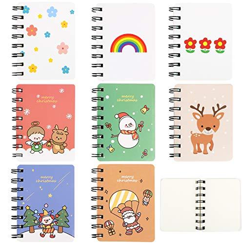 Pack de 8 Blocs de Notas Pequeños Mini Libreta 10,5x8cm Cuadernos de Bolsillo Espirales
