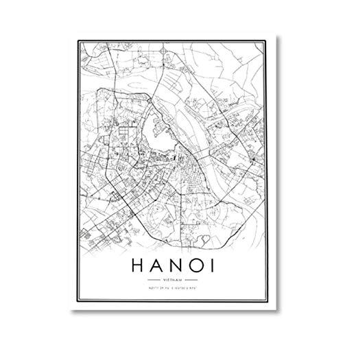 HANOI Stadsagenda afdrukken Vietnam zwart wit kaart canvas poster moderne muurkunst foto HANOI Home Decoration Schilderen Traveller Gift 40x50cmx1 niet ingelijst