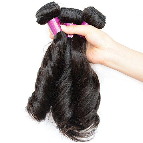 NOBLE QUEEN Hair Aunty Funmi Lot de 3 paquets de cheveux brésiliens vierges 10 A Noir naturel Cheveux ondulés non transformés 7,6 x 50,8 cm