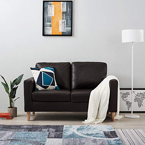 Targos 2 Seater Sofa Couch Settee Brown Faux Leather Modern Design Living Room Office Furniture