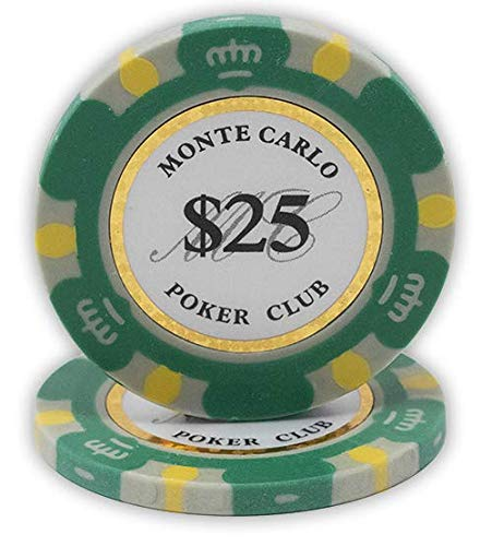 DA VINCI 14 Gram Clay Monte Carlo Poker Club Premium Quality Poker Chips Pack of 50 Green Chips