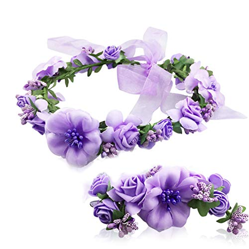 Flower Crown Headband Garland Wrist Band Wedding Hair Wreath Women Girl Purple
