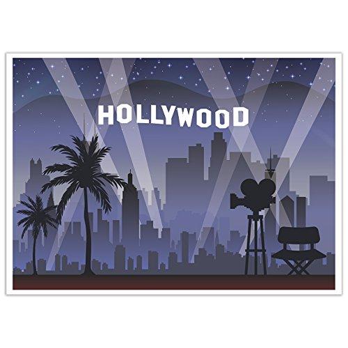 Fondo de fotografía de Hollywood con diseño de panda azul, ideal para fiestas de cumpleaños con tema de Hollywood, 5 x 7 pies