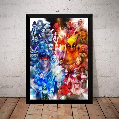 Quadro Marvel Vs Capcom Street Fighter Gamer Arte