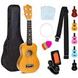 Best Choice Products 21in Acoustic Soprano Basswood Ukulele Starter Kit w/Nylon Carrying Gig Bag, Strap, Colorful Picks, Polishing Cloth, Clip-On Digital Tuner, Extra String - Light Brown