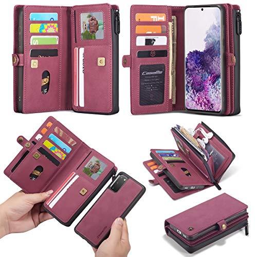 Kunyun For el Caso del teléfono móvil Samsung S20, Multifuncional de Cuero 15 Ranura de la Tarjeta de crédito con Cremallera Billetera magnética.para Samsung S20 (Color : Rojo)