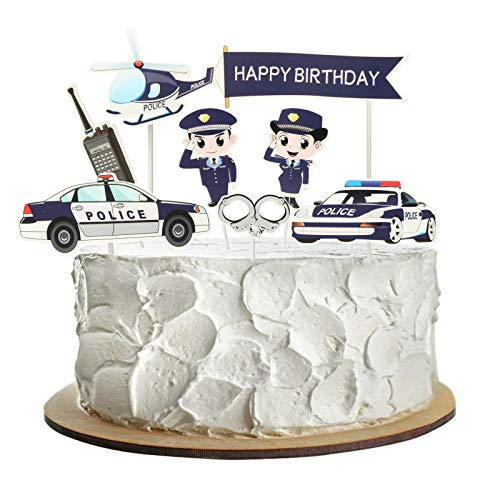 Happy Birthday Creative Police Cake Topper Birthday Party Cake Decoration Party Supplies